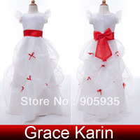 Beautiful Free Shipping 1pc/lot Ruffles Flower Girl Princess Bridesmaid Wedding Pageant Party Dress 10 Size 2~12 Years CL4488
