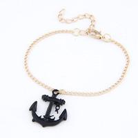 Korean Fashion Pop Chic Gold/Black Anchor Link Chain Bracelet for Women Men Wholesale