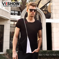 viishow short-sleeved T -shirt men European and American style solid color round neck fashion summer new Slim-type personality z