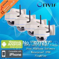 4PCS 1.0 MegaPixel HD 720P  IP Camera Onvif Vandalproof Dome 30 IR Network Wireless Wifi IP Camera Surveillance CCTV Camera