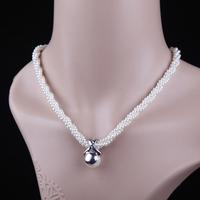 Women Lady Short Design Artificial Pearl Pendant Necklace