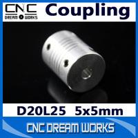 3pcs Jaw Shaft Couplings 5x5mm Motor Connector Flexible Coupling 5mm to 5mm D20 L25 CNC Lathe CN604