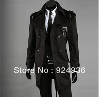 Men Slim Designed Jacket Hot Stylish Woolen Jacket Double Breasted Trench Coat Long Overcoat Free ship