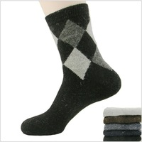 Free shipping new 2013 autumn winter men's warm wool socks, thick men argyle in tube thermal socks MY001