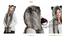 retail and wholesale 2013 novelty  women winter Christmas plush animal  fur hats scarf and gloves