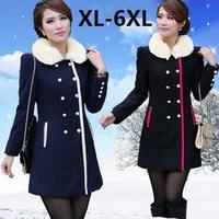 Plus Size XL-4XL 5XL 6XL(bust 130cm) 2014New Parkas Winter Wool Coats Woman Jacket Woolen Women's Coat Free Ship xxxxxl xxxxxxl