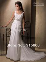 Wholesale - Slim A-line Sheath Ruched V-neckline Empire Waist Beading Chiffon Wedding Dresses  ABC3
