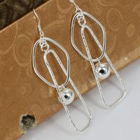 E072 Wholesale 925 silver earrings, 925 silver fashion jewelry, Double Square Earrings