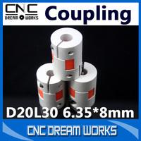 3pcs Aluminium Plum Flexible Shaft Coupling 6.35X8mm Motor Connector Flexible Coupler 6.35 to 8mm D20L30 CN616