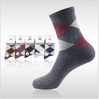 Free shipping new 2013 autumn winter men's warm fleece socks, men diamond sock  thickened, 5 colors, 1lot = 10pairs LH367