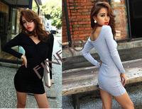 3pcs/lot New Korean Sexy Shitsuke Women's Hip Render Mini v neck Dress 3 colors free shipping 3546