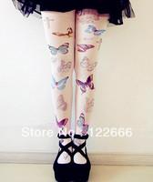 Freeshipping 2pairs/lot  Amo spank zipper HARAJUKU soft butterfly lolita print pantyhose  TDX-105