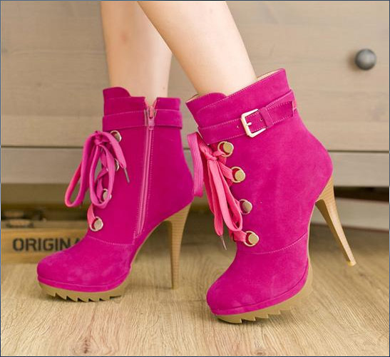 Hot Pink Ankle Boots Pink High Heel Ankle Boots