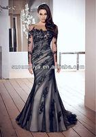 OUMEIYA MOB97 2013  Fall  Elegant Floor Length  Scoop Neckline Vintage Black Lace Mother Of The Bride Dresses