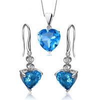 ZOCAI brand 9K white gold blue topaz pendant 18K white gold blue topaz earrings 925 silver chain gift jewelry set