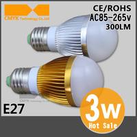 Free Shipping CREE 3W lamp led bulb High quality Aluminum Silver/Gold Shell CE&ROHS E27/E14/E27 AC85~265V led bulb 6pcs/lot