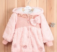 Newest 2013 baby girls pink/light pink cute coat kids korea style hooded outwear toddlers flower fur lace tops free shipping