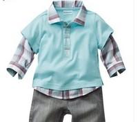 2015 Kids Baby Boys Plaid Long Sleeves T shirts Long Pants Clothing Sets Baby Casual Fake T-Shirt Suit Pant Clothes Set Costumes