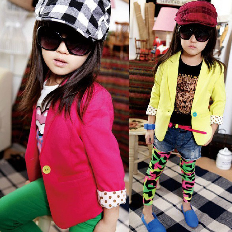 Kids Girls Slim Fit Casual Jackets Suits Blazers Candy Color Cotton Costume 2-7Y Free shipping & Drop shipping XL168(China (Mainland))