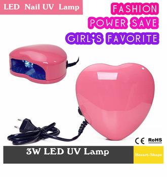 8.19 Promotion Fashion Professional 3W LED Nail UV Lamp Nail Art Gel Dryer Light  Spa Kit Pink Heart Shaped Fast Drying