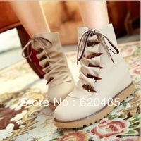 Free shipping 2013 women's ankle boots cow muscle outsole horn martin boots flat heel ankle boots cotton  snow boots