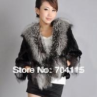 New Silver Fox Fur Collar Fake Fur Coat Short Style