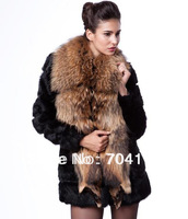 2013  New Arrival Large  Raccoon Fur Collar Rabbit Fur Slim Medium-Long Outerwear
