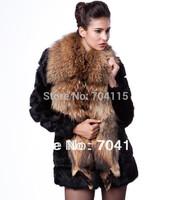 New Arrival Fashion Raccoon Fur Collar Rabbit Fur Slim Medium-Long Outerwear Crazy For Sale Oh My God