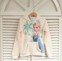 Children's cartoon coat, 2015 New hot coat, 100% cotton Elsa jacket, Children's recreational coat, girls warm hooded jacket.