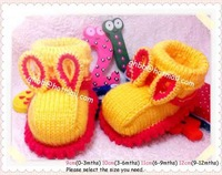 Hand Knit Crochet Rabbit  theme Baby Shoes Booties 0-3Mths(9cm) 3-6Mths(10cm) 6-9Mths(11cm) 9-12Mths(12cm)