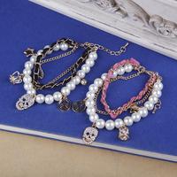 Women Lady Fashion Multi Pendant Skull Crown Stars Artificial Pearl Bracelet Bangle