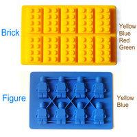 6 pcs/set silicone mini Figure and blocks shape ice tray chocolate mould free shipping