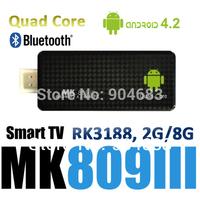 New Smat TV BOX Android MK809III with bluetooth Rockchip RK3188 Quad Core Cortex A9 MINI PC TV Stick 2GB/ 8GB 1.8GHz