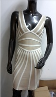 Wholesale In Stock Clients Logo Design Bandage Dress Beige White Strap  V Prom Dress