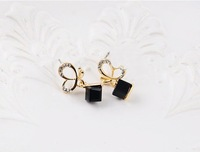 Minimum order $ 10 ( can mix order ) Accessories popular earring exquisite  butterfly square crystal stud earring
