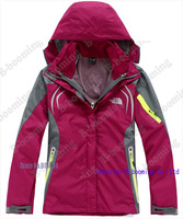 Free shipping!! Wholesale!   Female Outdoor Double Layer 2in1 Waterproof  Windproof Climbing Skiing Jackets Sportwear