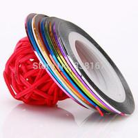 Free Shipping  100 Rolls Striping Tape Line Metallic Yarn Mixed Glue Adhesive Stick  Nail Art Decoration Sticker
