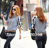 2013 hot fashion autumn women's asymmetrical long-sleeve plaid shirt female patchwork cotton blouse 553