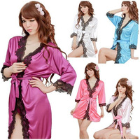 Free Shipping 5 Color Women Lace Robe Dress Set Sexy Pajamas Silk Sleepwear Nightgowns Lingerie Thong Bathrobe Camisola  A0231