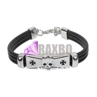 Punk personality skull Men Titanium Accessories Lovers Leather Handmade Bracelets,Free Shipping Wholesale TAB007