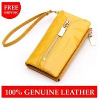 Oil wax cowhide Women wallet Women's genuine leather key wallets multifunctional coin purse day clutch mobile phone holder