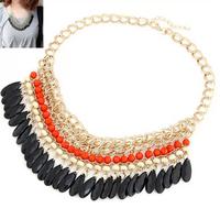 Free shipping 2014 new jewelry vintage royal punk bohemia fashion handmade multi-layer acrylic drop beads pendant necklace women