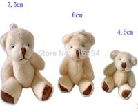 wholesale 4.5CM=1.77inch cheap white mini plush teddy bear phone pendant cartoon bouquet doll wedding gifts