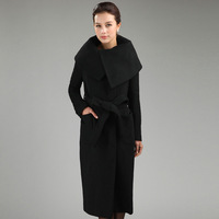 2013 Women's Ultra Long Woolen Overcoat Female Outerwear Silm Female Long Wool Outerwear Coat