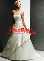 Free Shipping Suzhou Quality Elegant Small Tube Top Wedding Dress formal Dresses 2014
