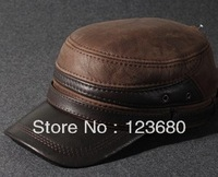Free shipping Hat male first layer of cowhide male 2013 ear winter genuine leather flat military hat  fashion