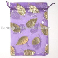100P WHOLESALE PURPLE ORGANZA MAPLE LEAF GIFT BAGS