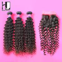 3 Bundles With Closure 1 piece lace top closure with 3pcs hair bundle 4pcs/lot Malaysian Deep curly wave Free shipping