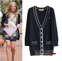 European style medium-long preppy chic big V-neck love heart shape button knitted sweater cardigans for women 2013