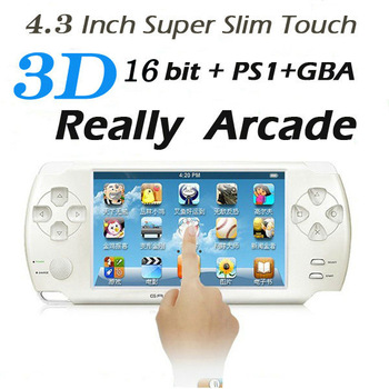 "Free Shipping 5pcs/lot 4.3"" Touch Screen Ultra-thin 16Bit Handheld  Games Consoles 3D Game PS1 Player 4GB HDMI Output  PMP"